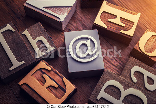 Concept Word Forming With Cube On Wooden E Mail Symbol