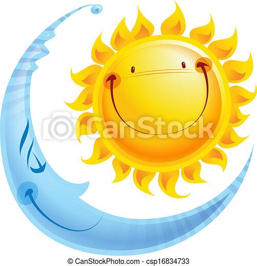 concept, zon, maan, karakters, nacht, spotprent, dag - csp16834733
