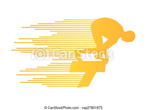 concept, zwemmer, sprong, vector, achtergrond, positie, beginnend blok - csp27801875