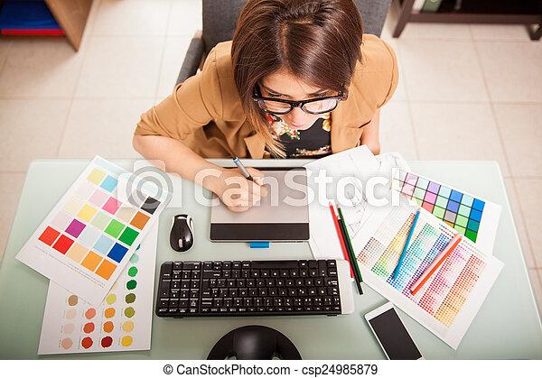concepteur, graphique, elle, bureau - csp24985879