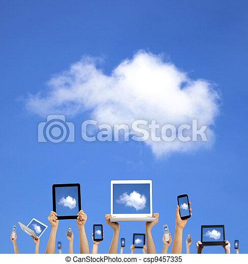concept.hands, tabuleta, computando, laptop, telefone, computador, almofada, nuvem, segurando, toque, esperto - csp9457335