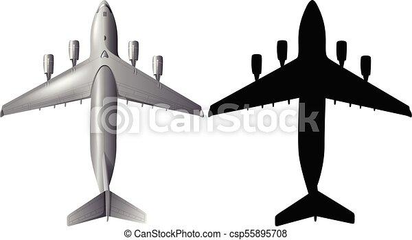 Conception Avion Silhouette Fond Blanc