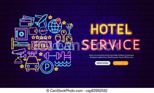 conception, bannière, services, hôtel, néon - csp82992592