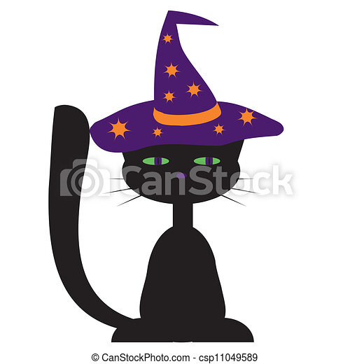 conception, chat, halloween, noir - csp11049589