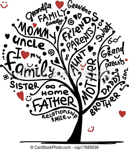conception, croquis, arbre, ton, famille - csp17685636
