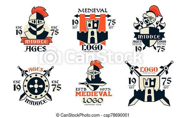 conception, insignes, vecteur, illustration, collection, milieu, blanc, club, moyen-âge, fond, âges, logo, prime - csp78690001