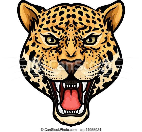 Conception Isole Dessin Anime Mascotte Jaguar Tete T Shirt Bared Conception Dents Mascot Tatouage Jaguar Canstock