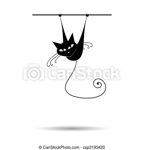 conception, noir, silhouette, ton, chat - csp3193420