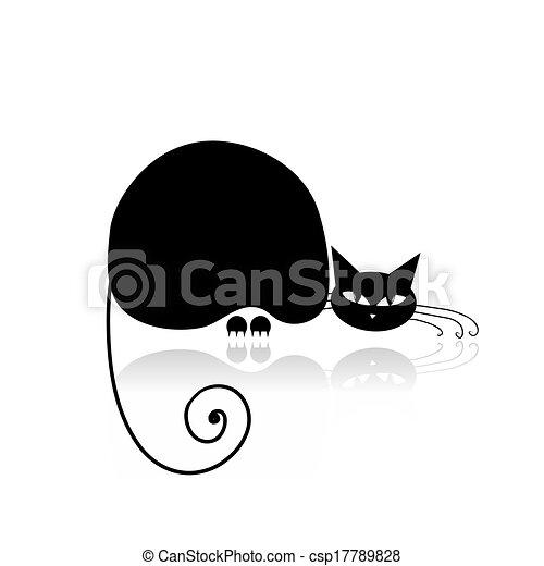 conception, noir, silhouette, ton, chat - csp17789828