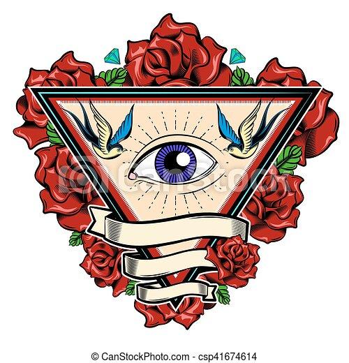 Conception Triangle Tatouage Oeil Gemmes Tatouage Turquoise
