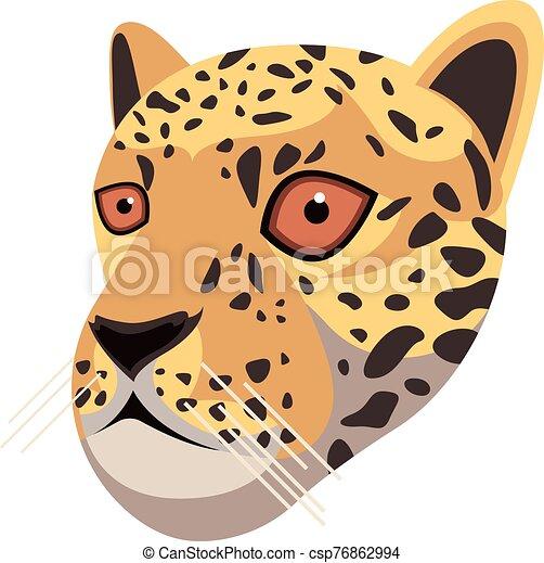Conception Unique Dessin Anime Style Tete Ton Simple Jaguar Portrait Fait Isole Icone Leopard Unique Dessin Canstock