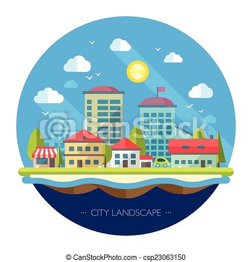 conception urbaine, paysage, illustration, plat - csp23063150