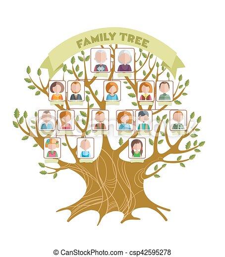 Concepto, árbol, familia . Concepto, ramas, familia , cuadros, hojas ...