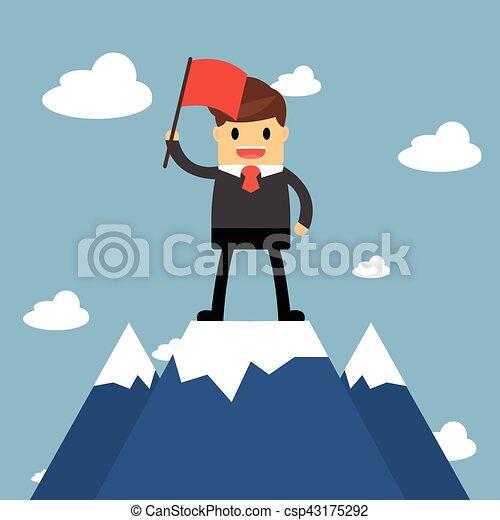 Hombre de negocios sosteniendo bandera en la cima de la montaña. Concepto de éxito - csp43175292