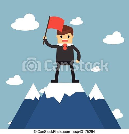 Hombre de negocios sosteniendo bandera en la cima de la montaña. Concepto de éxito - csp43175294