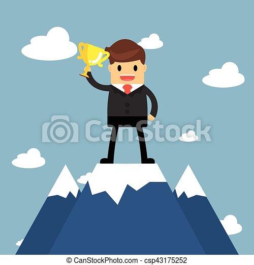 Los hombres de negocios van a la cima de la montaña. Concepto de éxito - csp43175252