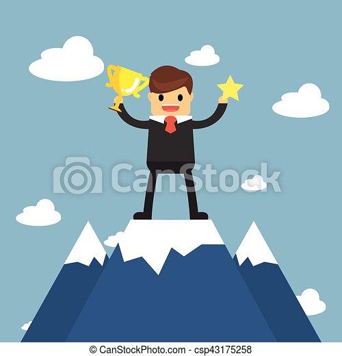 Los hombres de negocios van a la cima de la montaña. Concepto de éxito - csp43175258