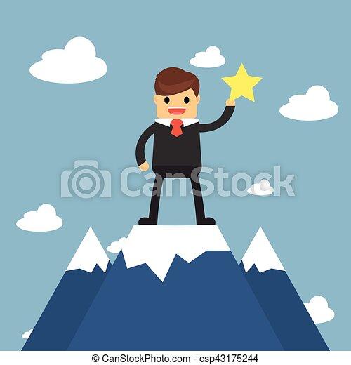 Los hombres de negocios van a la cima de la montaña. Concepto de éxito - csp43175244