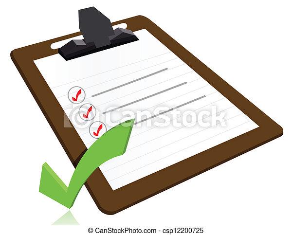 El concepto de éxito con una lista de cheques en la pizarra - csp12200725