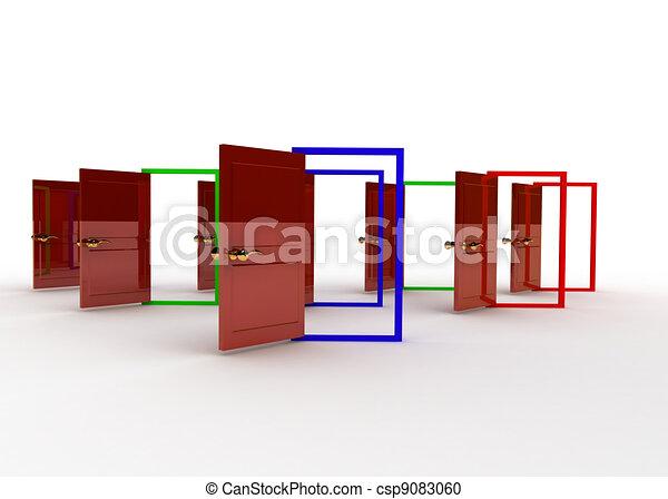 Concepto de puertas abiertas - csp9083060
