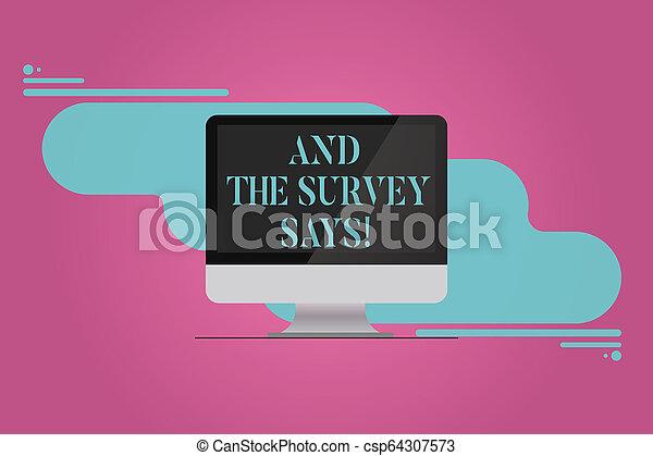 El texto de escritura y la encuesta dice. Concepto los resultados de las encuestas que muestran retroalimentación del monitor de computadora en blanco reflejan la pantalla de fondo abstracto. - csp64307573