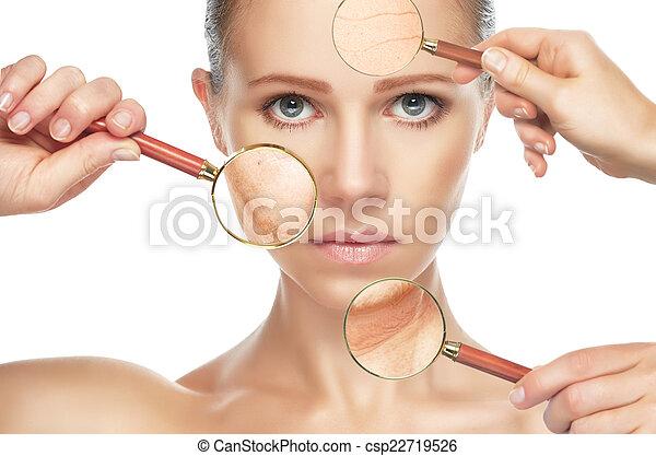 Envejecimiento de piel. Procedimientos anti-envejecimiento, rejuvenecimiento, levantamiento, apretar la piel facial - csp22719526