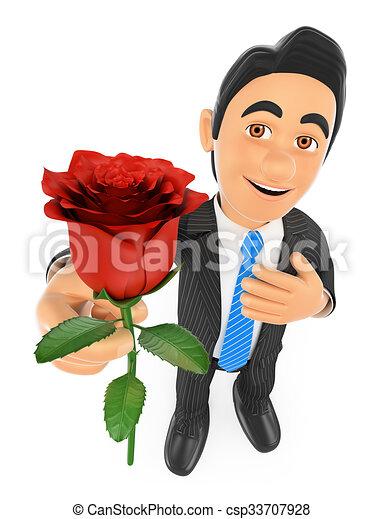 Empresario 3D dando una rosa roja con la mano en el corazón. Concepto de amor - csp33707928