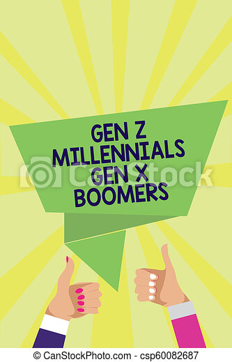 Mensaje de texto Gen Z Millennials Gen X Boomers. Concepto que significa diferencias generacionales de los viejos jóvenes hombre mujer manos pulgares arriba aprobación discurso origami rayos de fondo. - csp60082687