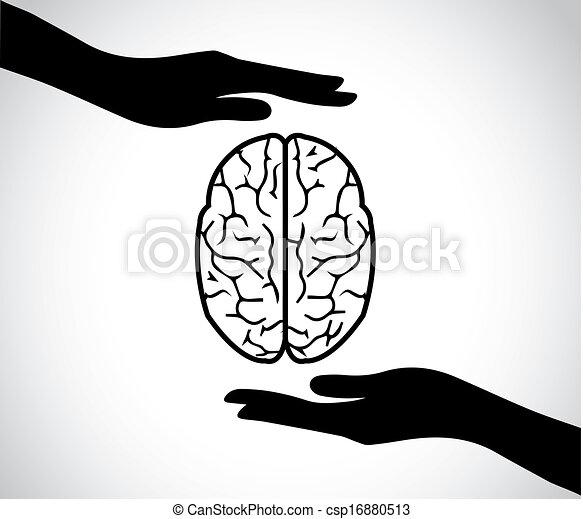 Siluetas de mano que protegen el cerebro o la mente de un humano, icono de los servicios de salud mental o diseño del concepto de arte de ilustración de vector - csp16880513