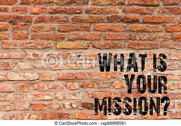 Escribiendo textos escribiendo lo que es tu misión. Concept significa preguntar a alguien sobre sus planes y todo lista Brick Wall Art como Graffiti llamada motivacional escrita en la pared. - csp66998561