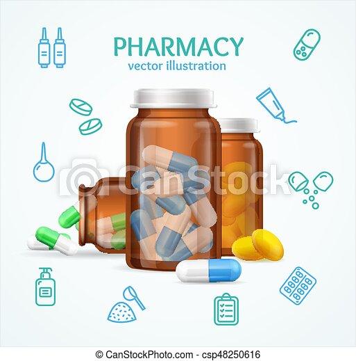 Un concepto de farmacia con pastillas en una botella de cristal. Vector - csp48250616