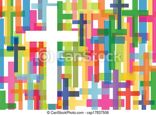 La religión cristiana cruza el concepto mosaico de vector abstracto de fondo ilustración para el poster - csp17837506