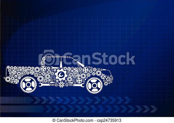 Concepto, simbolizando el coche como mecanismo - csp24735913