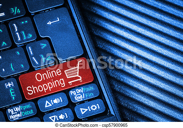 Teclado computarizado con concepto de compra en línea de botón rojo - csp57900965