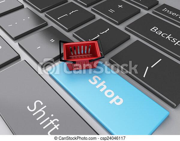 Cesta de compras en el teclado de la computadora. El concepto de compra online - csp24046117
