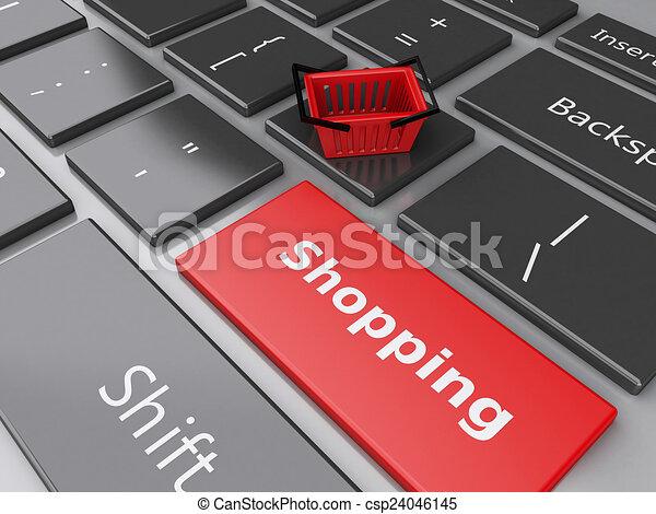 Cesta de compras en el teclado de la computadora. El concepto de compra online - csp24046145