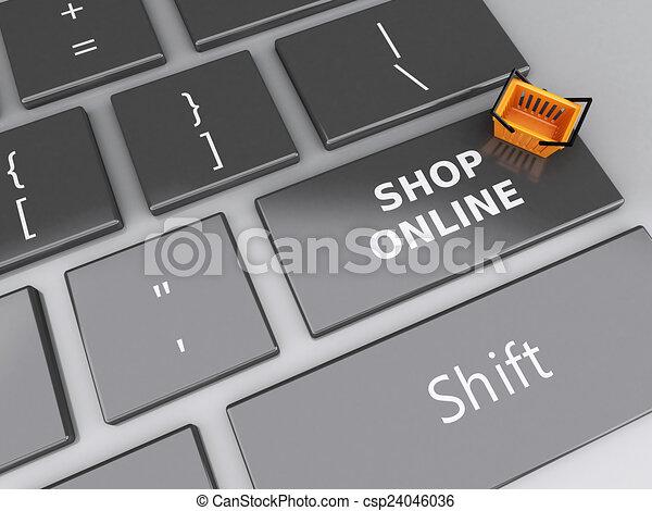 Cesta de compras en el teclado de la computadora. El concepto de compra online - csp24046036