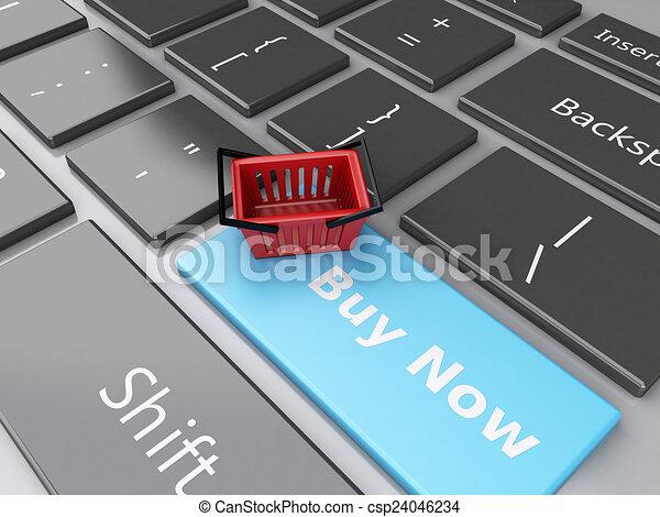 Cesta de compras en el teclado de la computadora. El concepto de compra online - csp24046234