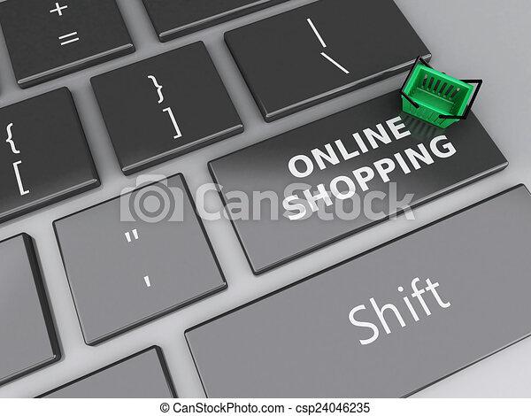 Cesta de compras en el teclado de la computadora. El concepto de compra online - csp24046235