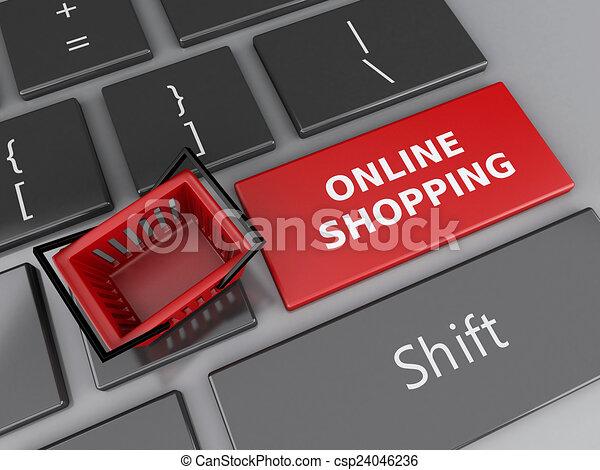 Cesta de compras en el teclado de la computadora. El concepto de compra online - csp24046236