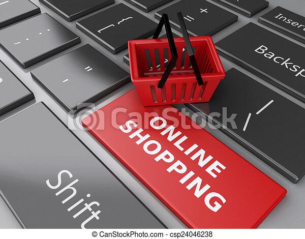 Cesta de compras en el teclado de la computadora. El concepto de compra online - csp24046238