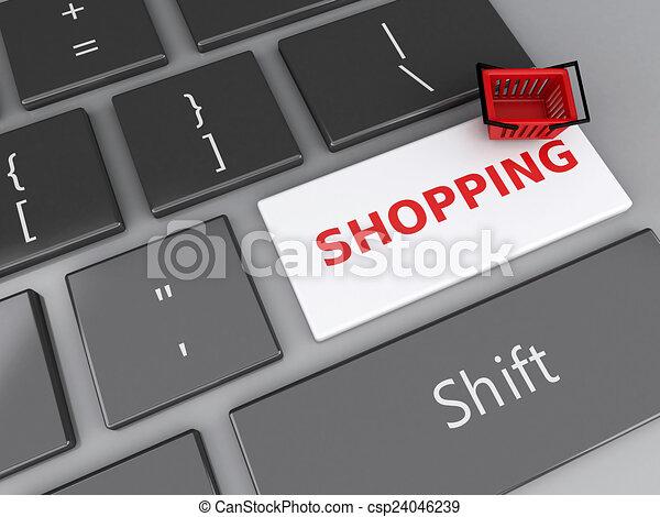 Cesta de compras en el teclado de la computadora. El concepto de compra online - csp24046239