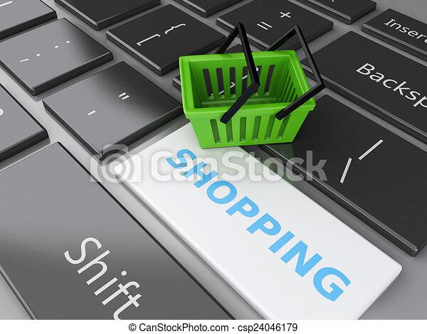 Cesta de compras en el teclado de la computadora. El concepto de compra online - csp24046179