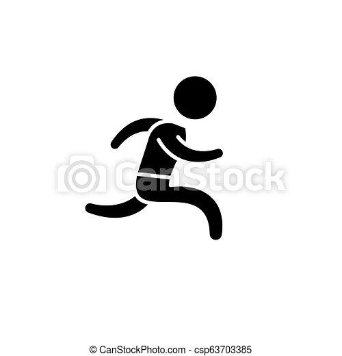Corre el icono negro, signo vector en el fondo aislado. Pon el símbolo conceptual, ilustración - csp63703385