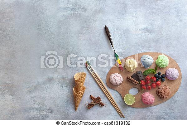 concepto, cucharadas, pintores, helado, variado, paleta - csp81319132