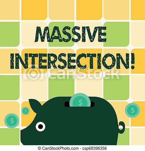 Escribir palabras en una intersección masiva. El concepto de negocios para el cruce de engrase donde dos o más carreteras se encuentran o cruzan el colorido Banco de Dinero Piggy y Monedas con el signo de dólar en el Slit. - csp68396356