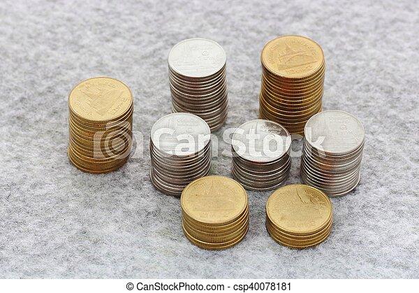 concepto, dinero del ahorro, crecer, moneda, pila - csp40078181