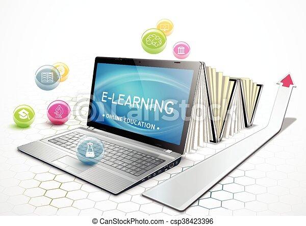 concepto, educatio, e-learning. - csp38423396