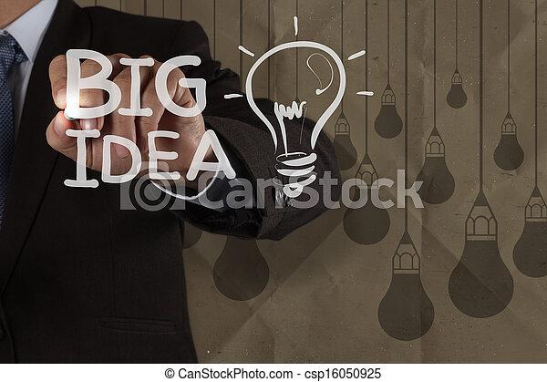El hombre de negocios dibuja una gran bombilla de ideas con un fondo reciclado como concepto creativo - csp16050925