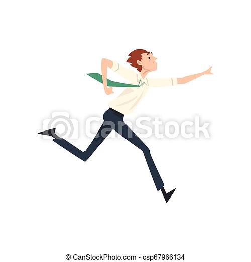 Empresario corriendo al éxito, la ilustración de vectores de competencia de negocios - csp67966134